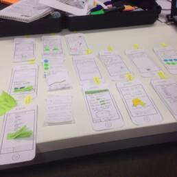 Paper prototypes of an mobile app